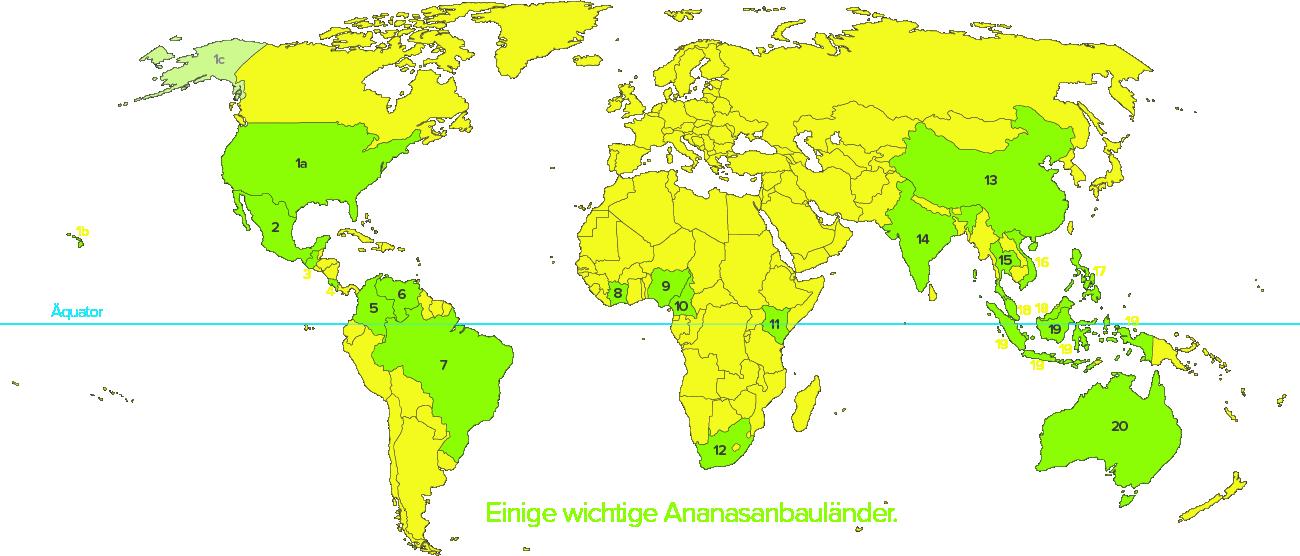 Ananasanbauländer und -gebiete