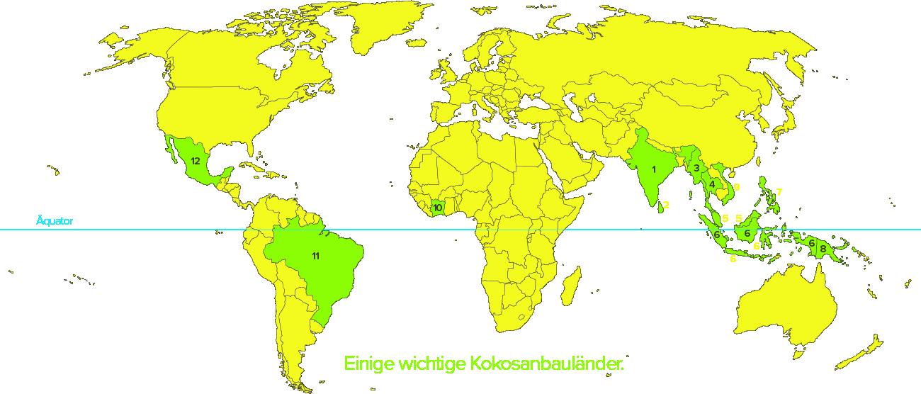 Die wichtigsten Kokosanbauländer und -gebiete