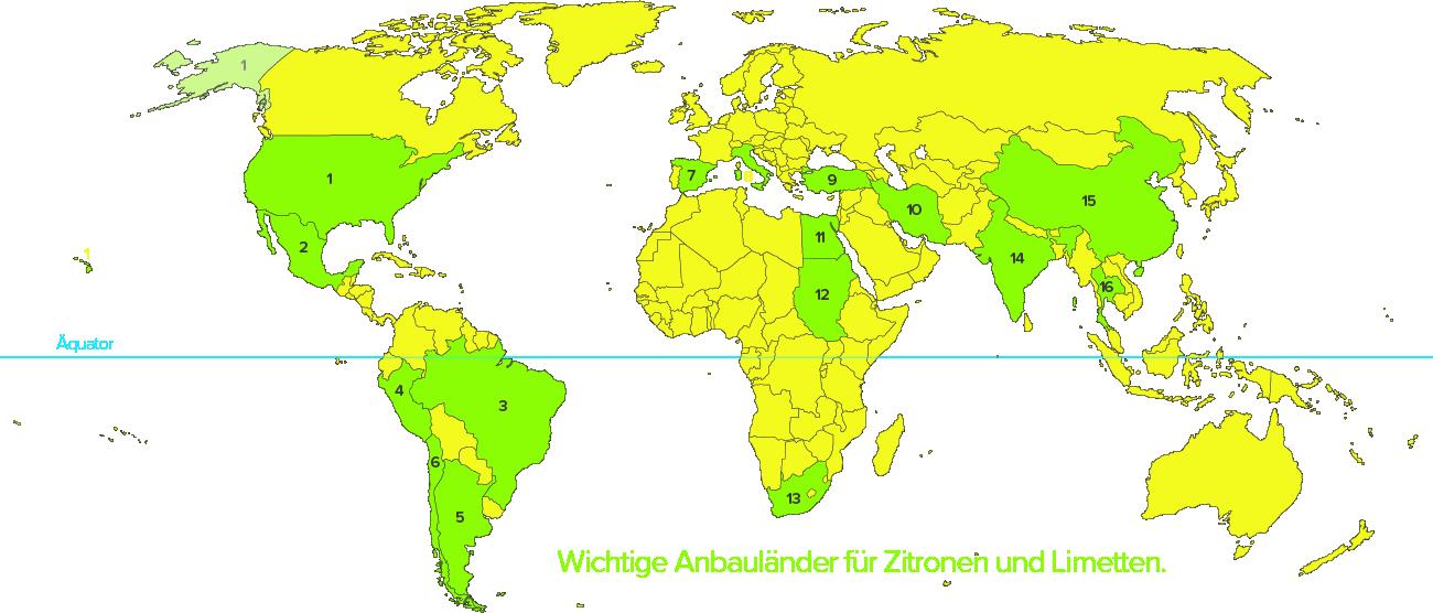 Zitronenanbauländer und -gebiete